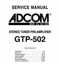ADCOM GTP-502 Schematic Diagram Service Manual Schaltplan Schematique