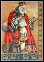Father Christmas with Cats -  Chart Counted Cross Stitch Pattern Needlework