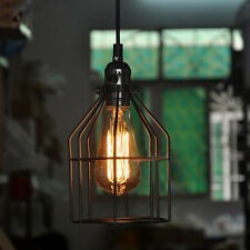Vintage Industrial Style Metal Wire Frame Ceiling Light Shades Lantern Cage Bulb