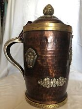"""Antique hand made copper jug 13""""X5"""" depth 9"""" with silver"""