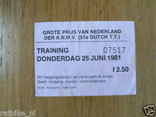 1981 TICKET TRAINING DUTCH TT ASSEN 25-6-1981 MOTO GP TOEGANGSBEWIJS A
