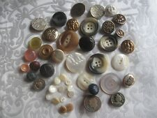 45 VINTAGE ASSORTED UNIQUE BUTTONS METAL LEATHER MOTHER OF PEARL CELLULOID