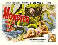 Monstruo vintage de la película de impresión de cartel A4 fondo oceánico