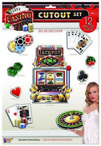 CASINO NIGHT Wall Cutouts Party Room Decorations Cards Poker Chips Roulette Slot