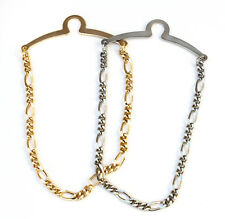 NEW Mens 4mm Tie Chain Tack Clip Silver Figaro Links Gangster with box FREE SHIP
