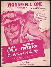 Wonderful One 1922 To Please A Lady Clark Gable Barbara Stanwyck Sheet Music