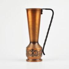 schlanke Kupfervase - rustikal - Henkel schmiedeeisern - Vintage Copper Vase