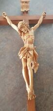 WOOD - CARVED JESUS ON THE CROSS - CRUCIFIX - very nice details