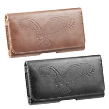Universal Horizontal Mobile Leather Pouch with  Embossed Eagle Print