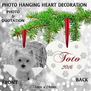 Personalised PET Photo Christmas Tree Metal Decoration Cat Dog Horse Present