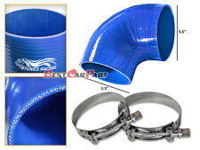 """BLUE Silicone 90 Degree Elbow Coupler Hose 3.5"""" 89 mm + T-Bolt Clamps MZ"""
