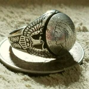 SOUTHWESTERN 999 INCUSE Indian Chief on Sterling Silver Eagle Shield Ring sz 13