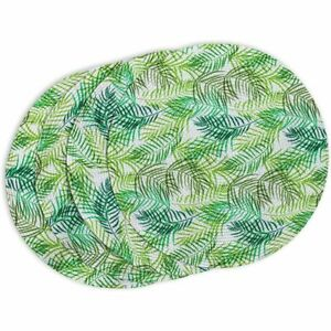 Indoor Outdoor Fern Leaf Placemat Set, Round Green Braided Placemats (4 Pcs)