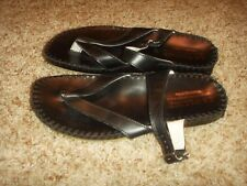 La Plume Thong Sandals Black Leather Moc Stitch Styling Womens Size 37
