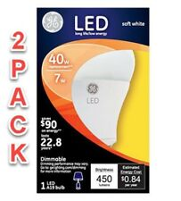 GE Lighting 14194 Energy-Smart LED 7W, 470Lu A19 Bulb with Medium Base (2 PACK)