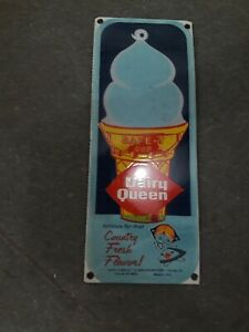 """Porcelain Dairy Queen Enamel Sign Size 12"""" x 5"""" Inches"""