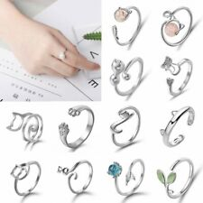 New Silver Crystal Pearl Cat Adjustable Finger Ring Toe Knuckle Finger Jewellery