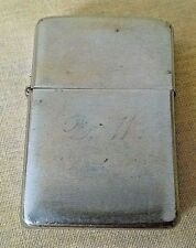 ZIPPO LIGHTER VINTAGE SILVER METAL CHROME ENGRAVED D W BRADFORD PA USED AS IS.
