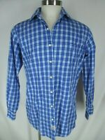 Peter Millar Mens Blue Plaid Long Sleeve Cotton Shirt L
