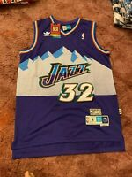 Karl Malone Utah Jazz #32 Purple and Blue Swingman Throwback Mens Jersey