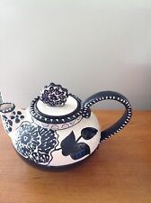 Blue Sky Black & Cream Floral Cambria Nouveau Teapot