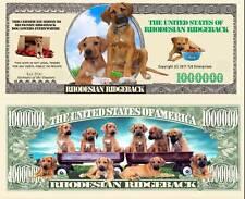 Rhodesian Ridgeback Dog Million Bones Dollar Bill Play Funny Money + Free Sleeve