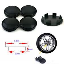 4 PCS 53mm Car Hub Caps Set Anti-theft Wheel Hub Center Cover Decor Black ABS