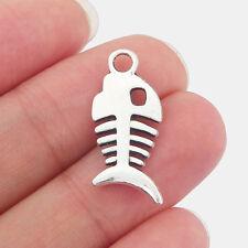 BULK 30 Hanging skeleton pendants tibetan silver HC120