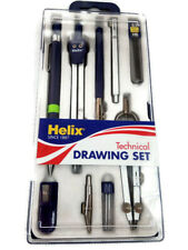 New Helix Precision Technical Drawing Metal Compass Set School Drafting 9 Piece