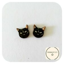 Black cat Face Stud Earrings🐾 wooden ⭐ Handmade 15mm💜 Halloween