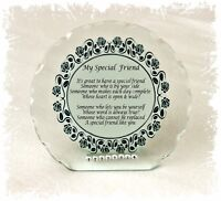 My Special Friend Inspirational Poem Cut Glass Plaque Special Gift + Diamante #1