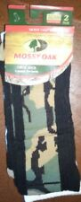 Mens MOSSY OAK Camouflage Crew Socks - 2-Pack - Camo & White - Shoe Size 9-12.5