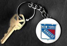 914528974 New York Rangers Shield White Logo Keychain Key Chain NHL