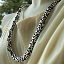 Bali Mens Byzantine Chain Necklace 6.5mm 105GR 24Inch Solid 925 Sterling Silver