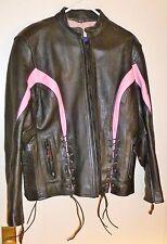 SUPER Women's VANCE LEATHER Black & Pink Leather Biker Jacket, Size XL
