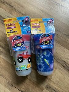 Nuby 10 Oz. Insulated 360 Wonder Fireworks Light up Cup Lot Of 2 Monster Truck
