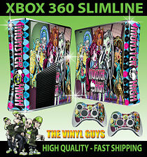 Xbox 360 Slim Monster High Vampire Wolf Zombie Sticker Skin & 2 X Pad Skins