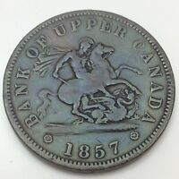 1857 Bank Of Upper Canada Circulated Canadian One Penny Token D520