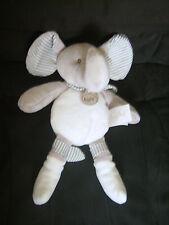 Doudou éléphant Baby Nat' gris et blanc cassé en velours plat 25 cm TBE