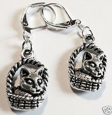 CUTE CAT KITTEN IN A BASKET SILVER TONE EARRINGS FOR PIERCED EARS