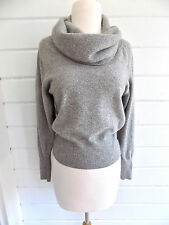 100% CASHMERE  Clan Douglas grey cowl neck sweater Made in Scotland-Sz. S/M