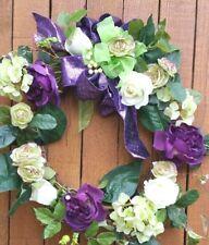 "22"" Door Wreath green hydrangeas purple roses green ranunculus purple/grn bow"