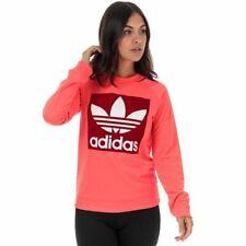 Mujer Adidas Originales Trébol Regular Fit Sudadera Cuello Redondo En Rosa