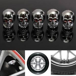 2pcs Cool Red Eyes Evil Skull Valve Stem Tire Air Tyre Dust Caps