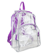 Clear Backpack Transparent Purple Trim Security Book Bag Travel Events 17.5in