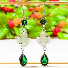 "Exclusive Aqua Chalcedony, Emerald Quartz Jewelry Earring 2.76"" E-734"