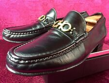 $680.00 Mens Salvatore Ferragamo Black Leather Loafers Sz 11 Us Made In Italy