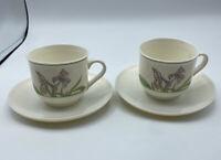 Arcopal France Diana Pair Tea Coffee Cup Saucer Sets Purple Iris Green Trim