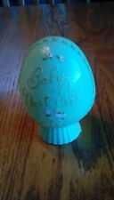 Vintage Still Bank Baby's Nest Egg Early Plastic Plakie Piggy With Stopper Blue
