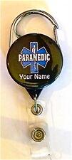 PARAMEDIC CARABINER ID BADGE HOLDER, RETRACTABLE REEL, KEYS, MEDICAL, NURSE